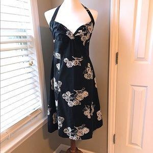 Black floral halter dress by H&M